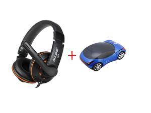USB 2.0 Stereo Headphone Headset with Microphone Mic for PC Laptop Computer + 2.4GHz Wireless Optical Car 1600 DPI Mouse