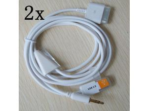 2pcs 3.5mm Car AUX Audio USB Dock Cable for iPod iPhone 3G 4