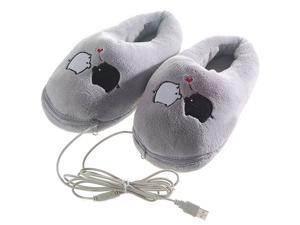 New Year Gift USB Cartoon Pig Heating Cushion Slippers Heated Shoes Foot Warmer PC Laptop