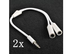 2 pcs NEW 3.5mm Male to 2 Female Audio Splitter Cable Jack Headset Headphone