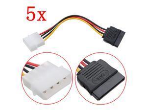 5 X 4 Pin IDE Molex to 15 Pin Serial ATA SATA Hard Drive Power Cable