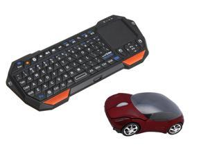 2.4GHz Wireless Optical Car 1600 DPI Mouse For PC Laptop Win 7 Windows XP + Mini Bluetooth Wireless Keyboard Touchpad Mouse For iPad PC