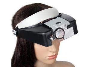 10X Lighted Magnifying Glass Headset LED Light Lamp Head Headband Headlamp Magnifier Loupe Headlight