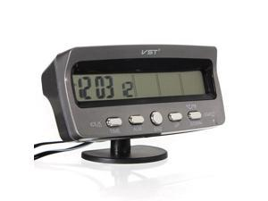 Car Voltage Monitor Battery Alarm In / Out Temperature LCD Thermometer Clock 12V