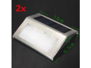 2x Solar Power LED Light Step Stairs Pathway Deck Garden Yard Lamp Warm White