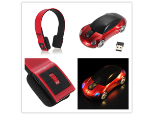 Wireless Stereo Bluetooth Headphone for Phone Laptop PC + USB Charging Cable + 3D Wireless Optical 2.4G Car Shaped Mouse Mice 1600DPI USB For PC laptop
