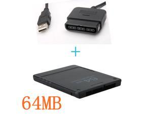 64MB 64 MB Memory Card Save Game Data Stick Module For PS2 + PC USB PS2 to PS3  Game Controller Adapter Converter For PlayStation 2 3 PS2 PS3