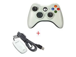 2.4GHz Remote Gamepad Joypad Game Controller +  PC Wireless Controller Gaming USB Receiver Adapter For Microsoft XBOX 360 White