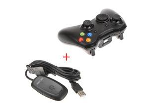 2.4GHz Wireless Remote Shock Gamepad Joypad Game Controller +  PC Wireless Controller Gaming USB Receiver Adapter For Microsoft XBOX 360 Black