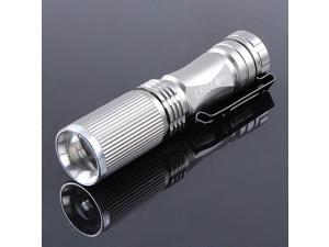 Silver Mini CREE Q5 LED Flashlight Torch Light Lamp 600Lm 7W ZOOMABLE Zoom 14500