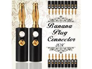 40 pair Cable Amp 4mm Gold Plated Audio Banana  Speaker Plug Connector Jack Screw