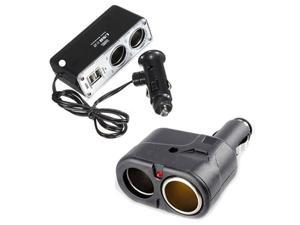 New 2 Way USB Port Car Cigarette Lighter Dual Socket Splitter Charger Adapter 12V/24V