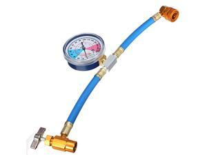 R-134 R134A AC Refrigerant Recharge Hose Can Tap + Gauge with Brass fitting