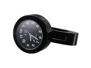 """7/8 - 1"""" Universal Motorcycle Motorbike Handlebar Mount Waterproof Clock - Black"""