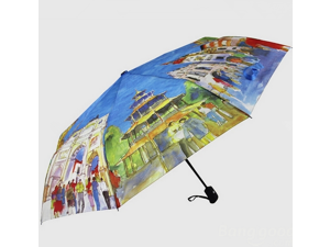 Universal Eight European Style Landscape Painting Automatic Umbrella