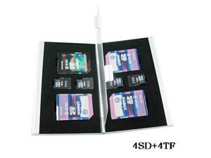 Silver 4SD+4TF Aluminium alloy Flash Micro Memory SD TF Card Case Storage Box Protector Cover Holder