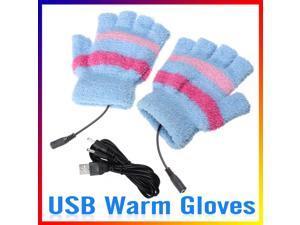 USB Winter Heating Hand Warm Gloves Heated Woolen Fingerless Warmer Mitten