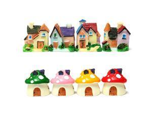 8 pcs Aegean Sea House Dollhouse Mushroom House Miniature Landscape Potted Resin Decorative Ornaments Fairy Decor Little Gift 5cm