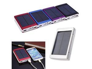Fashion 10000mAh Blue Dual USB External Solar Panel Power Bank Mobile Battery Charger for iPhone 5S 5C 5 4S HTC Smartphones