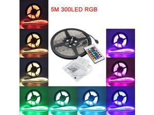 Waterproof 5M 5050 RGB LED Strip Lights 300 LEDs Lighting Lamp + 24 Key Remote Controller For Decoration