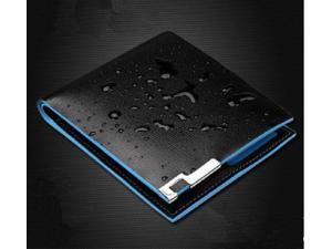 Mens Leather Wallet Black Card Clutch Purse Pockets Cente Bifold Money Clip