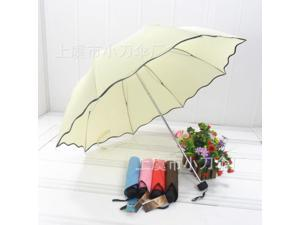 Anti-UV Lady Women men Girl Flouncing Princess Dome Parasol Sun Rain Foldable Umbrella