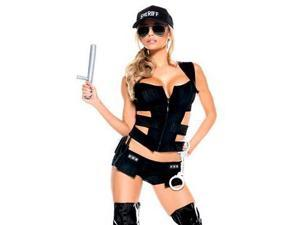 Be Wicked Sexy Sheriff 7 Piece Costume BW988 Black Small/Medium