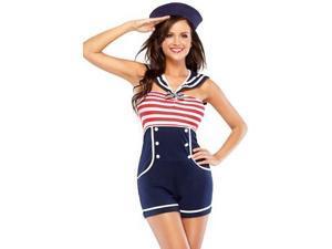 2 Pc Pin Up Sailor Costume Coquette M6162 Blue/White/Red Small/Medium