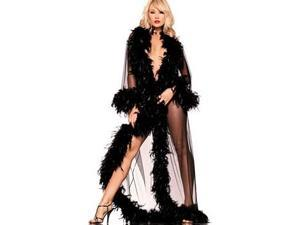 Be Wicked Black Feather Glamour Robe BW834-B Black One Size Fits All