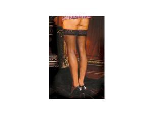Elegant Moments Sexy Lace Top Stocking W/Back Seam 1702X Black One Size Fits All