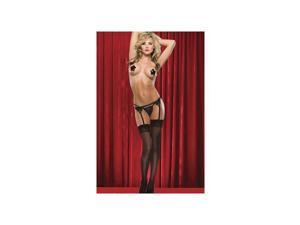 Coquette Sheer Back Seam Thigh Highs 1756 Black One Size Fits All