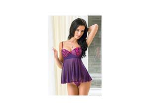 Coquette Double Lace Up Babydoll Set 1183 Purple/Fuchsia Small