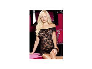 Shirley of Hollywood Black Stretch Lace Chemise & Panty 96351SH_B Black One Size