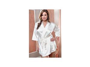 iBasic Intima Elegant Ivory Satin 3/4 Sleeve Robe 7893X-I Ivory 1X/2X
