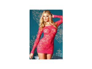 Be Wicked Hot Pink Floral Lace Chemise BW1321 Hot Pink Large