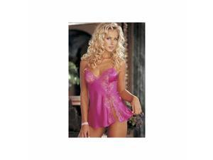 Pink Charmeuse And Lace Babydoll 20016 Shirley Pink Small