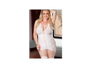 Shirley of Hollywood White Swan Chemise & Panty Set 96325Q-W White One Size Fits