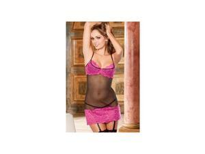 Shirley of Hollywood Enticing Black & Pink Chemise Set 29480-BP Blk/Pnk Xtra