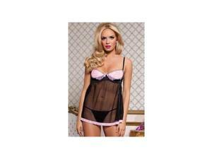 Seven 'til Midnight Angelcake Babydoll Set 9705 Black/Pink Small