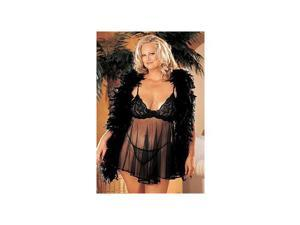 Shirley of Hollywood Sheer Lace And Net Baby Doll X20080 Black 3X