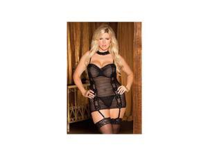 Shirley of Hollywood Diva Black Stripe Chemise Set 25295X Black 3X