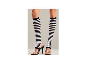 Be Wicked Striped Stirrup Knee High BW651 Black/White One Size Fits All