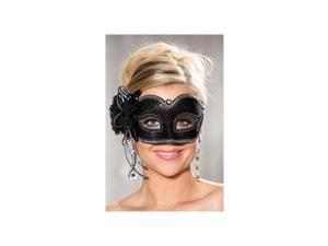 Shirley of Hollywood Sequin Sparks Half Mask 915 Black One Size Fits All