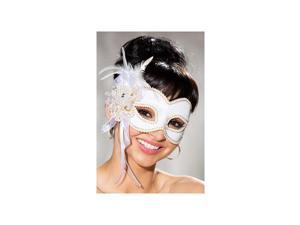 Shirley of Hollywood White Satin Half Mask 919 White One Size Fits All