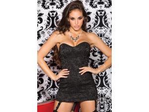 Shirley of Hollywood Stretch Jacquard Corset Dress 26935 Black 32