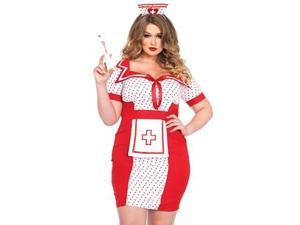 Queen Bedside Betty Costume Leg Avenue 85438X Red/White 3X/4X