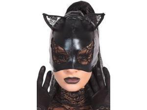 Wet Look Lace Cat Mask Coquette M2245 Black One Size Fits All