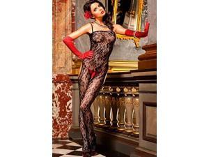 Baci Lingerie Fabulous Flower Unique Bodystocking 169 Black One Size Fits All