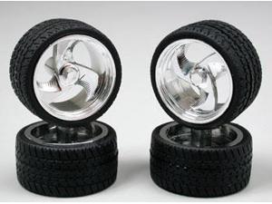 1202 Tri-Blade Chrome Rims w/Tires PGHS1202 PEGASUS HOBBIES