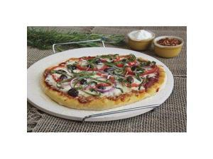 "CHARCOAL COMPANION Pizzacraft 15"" Round Ceramic Baking/Pizza Stone with Wire Frame"